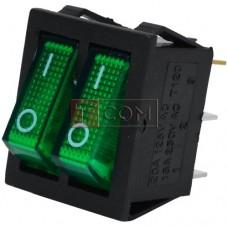 Переключатель двойной с подсветкой IRS-2101-1А ON-OFF  , 6pin, 15A, 220V, зелёный