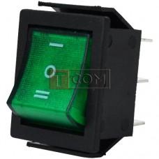 Переключатель широкий с подсветкой IRS-203-1C ON-OFF-ON  , 6pin, 15A, 220V, зелёный