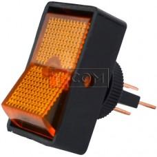 Переключатель с подсветкой ASW-11D ON-OFF  , 3pin, 12V, 20А, жёлтый