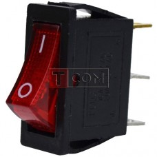 Switch narrow illuminated KCD-3, ON-OFF , 3pin, 16A, 220V, red
