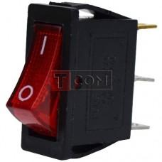 Переключатель узкий с подсветкой KCD-3, ON-OFF  , 3pin, 16A, 220V, красный