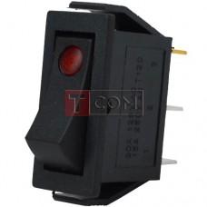 Перемикач вузький з підсвічуванням IRS-101E-1C ON-OFF , 3pin, 15A, 220V, червоний