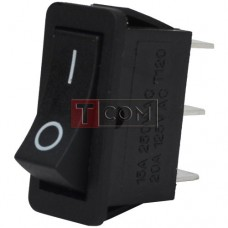 The narrow switch RS-102-16C ON-ON , 3pin, 15A, 220V, black
