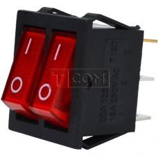 Переключатель двойной с подсветкой IRS-2101-1А ON-OFF  , 6pin, 15A, 220V, красный