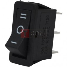 The narrow switch RS-103-16C ON-OFF-ON 3pin, 15A, 220V, black