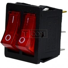 Switch dual illuminated KCD4-011, ON-OFF , 6pin, 15A, 220V, red