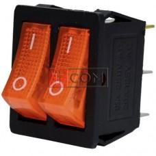 Переключатель двойной с подсветкой KCD4-011, ON-OFF  , 6pin, 15A, 220V, жёлтый