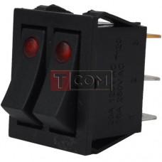 Переключатель двойной с подсветкой IRS-2101E-1C ON-OFF  , 6pin, 15A, 220V, красный