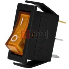 Перемикач вузький з підсвічуванням IRS-101-1С ON-OFF, 3pin, 15A, 220V, жовтий