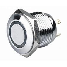 Кнопка антивандальная 16мм  , без фиксации, 4pin, 12V, с подсветкой