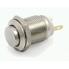 Кнопка антивандальная 12мм  , без фиксации, 220V, выводы под пайку