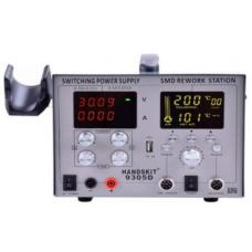 Паяльная станция 4в1 HandsKit 9305D (паяльник+фен+лаболаторный блок+USB), 4 дисплея
