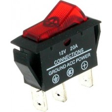 Переключатель с подсветкой ASW-09D ON-OFF  , 3pin, 12V, 20А, красный