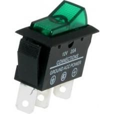 Переключатель с подсветкой ASW-09D ON-OFF  , 3pin, 12V, 20А, зелёный