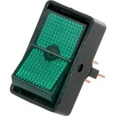 Переключатель с подсветкой ASW-11D ON-OFF  , 3pin, 12V, 20А, зелёный