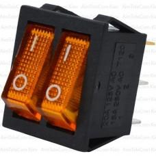 Переключатель двойной с подсветкой IRS-2101-1А ON-OFF, 6pin, 15A, 220V, жёлтый